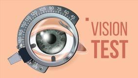 Vektor för ögonprovbaner Visionkorrigering Optometriker Check Slingaram Examenillustration royaltyfri illustrationer