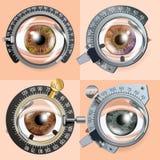Vektor för ögonprovbegrepp Korrigeringsapparat Klinikkonsultation Diagnostisk utrustning Optometriker Check läkarundersökning stock illustrationer