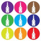 Vektor för ölflaskasymbolsuppsättning Royaltyfri Bild
