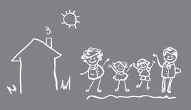 vektor för 4 folk för bannefamiljsymbol Royaltyfri Bild