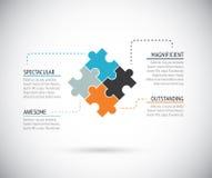 Vektor för affärsidé för pusselstyckinfographics royaltyfri illustrationer