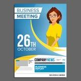 Vektor för affisch för affärsmöte 2 business woman Inbjudan för konferensen, forum, idékläckning Räkningsårsrapport A4 Royaltyfri Foto