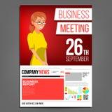 Vektor för affisch för affärsmöte 2 business woman Inbjudan och datum Konferensmall Format A4 Röd gul räkning Arkivbilder