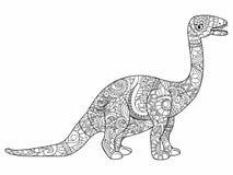 Vektor för Apatosaurusdrakefärgläggning för vuxna människor royaltyfri illustrationer