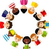 vektor för avstånd för blankt barnillustrationmeddelande din mångkulturell Royaltyfri Bild