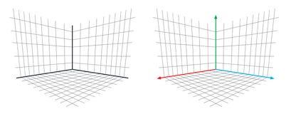 Vektor för axel för perspektiv 3d för OpenGL projektionsmatris royaltyfri illustrationer