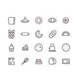 Vektor för bagerisymbolsuppsättning Linje symboler Royaltyfri Fotografi