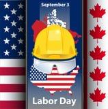 Vektor för bakgrund för flagga för abstrakt begrepp för kort för hälsning Kanada för arbets- dag royaltyfri illustrationer