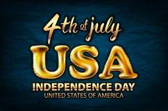 4 vektor för ballong för juli USA självständighetsdagen guld- guld- Arkivbilder