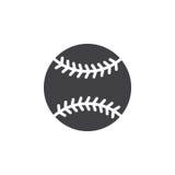 Vektor för baseballbollsymbol, fyllt plant tecken, fast pictogram som isoleras på vit royaltyfri illustrationer