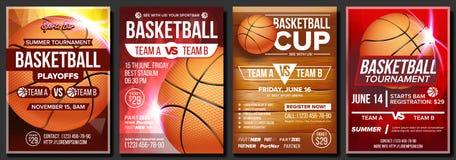 Vektor för basketaffischuppsättning Design för befordran för sportstång isolerad white för bakgrundsboll basket turnering Sporthä stock illustrationer