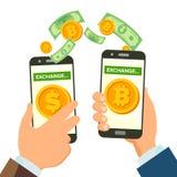 Vektor för begrepp för bankrörelsen för pengarutbyte Mänskligt handbaner holdingen för bakgrundsgrupphanden bemärker smartphone M vektor illustrationer