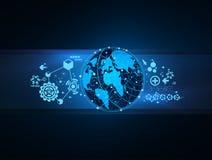 Vektor för begrepp för översikt för globalt nätverk för teknologi Arkivbilder