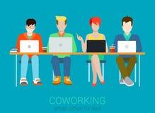 Vektor för begrepp för Coworking lägenhetrengöringsduk infographic vektor illustrationer