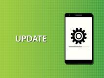 Vektor för begrepp för uppdateringappssmartphone pågående Arkivfoto