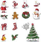 Vektor för beståndsdelar för jul grafisk dragen hand Arkivfoton