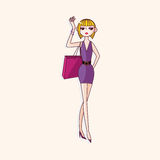 Vektor för beståndsdelar för shoppingflickatema, eps Royaltyfri Foto