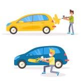 Vektor för bilmålningretuschspruta cartoon royaltyfri illustrationer