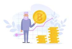Vektor för Bitcoin tillväxtdiagram cartoon Isolerad konst på vit bakgrund plant stock illustrationer