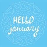 Vektor för bokstäver för Hello Januari hand skriftlig, vintertemaaffisch, inspirerande citationstecken, typografiaffisch Royaltyfri Fotografi