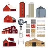 Vektor för boskap för lantgårdhusbyggnad Arkivbild
