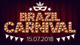 Vektor för Brasilien karnevalbaner Karnevallampbakgrund För musikalisk partibanerdesign retro illustration royaltyfri illustrationer