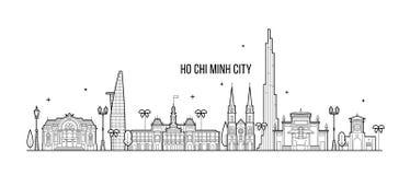 Vektor för byggnader för Ho Chi Minh horisontVietnam stad royaltyfri illustrationer