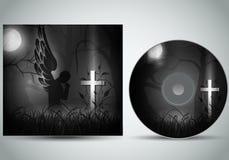 Vektor för CDräkningsmall 3d med en ängel som ber i framdel av en mörk grav stock illustrationer