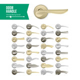 Vektor för dörrhandtag Fastställd realistisk klassisk beståndsdel på vit bakgrund Lås för handtag för metallguld- och silverdörr royaltyfri illustrationer