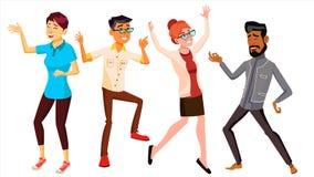Vektor för dansfolkuppsättning Feriesemesterparti Folk som lyssnar till musik Isolerad plan tecknad filmillustration royaltyfri illustrationer