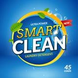 Vektor för design för ckeanser för baner för tvätteritvättmedel Advertizing för mall för färgrikt pulver för badrum förpackande royaltyfri illustrationer
