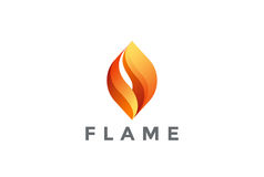 Vektor för design för brandflammalogo Abstrakt logotyp Arkivfoto
