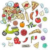 Vektor för design för pizzaingridients färgrik Royaltyfria Bilder