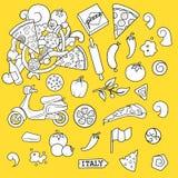 Vektor för design för pizzaingridients svartvit Royaltyfri Bild
