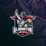 Vektor för design för gladiatormaskotlogo med modern illustrationbegreppsstil för emblem-, emblem- och tshirtutskrift spartanskt vektor illustrationer