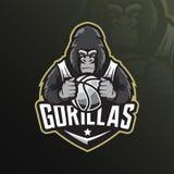 Vektor för design för gorillamaskotlogo med modern illustrationbegreppsstil för emblem-, emblem- och tshirtutskrift ilsken gorill vektor illustrationer