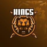 Vektor för design för lejonmaskotlogo med modern illustrationbegreppsstil för emblem-, emblem- och tshirtutskrift ilsken head lio stock illustrationer