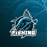 Vektor för design för logo för fiskmarlinmaskot med modern illustrationbegreppsstil för emblem-, emblem- och tshirtutskrift Fiskm royaltyfri illustrationer