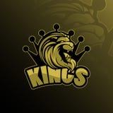 Vektor för design för logo för lejonkonungmaskot med modern illustrationbegreppsstil för emblem-, emblem- och tshirtutskrift Vekt royaltyfri illustrationer