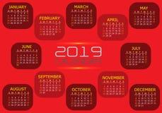 Vektor för design för nummer för text för röd signal för kalender 2019 gul orange vit stock illustrationer