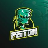 Vektor för design för pistongmaskotlogo med modern illustrationbegreppsstil för emblem-, emblem- och tshirtutskrift grön pistong royaltyfri illustrationer