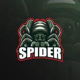 Vektor för design för spindelmaskotlogo med modern illustrationbegreppsstil för emblem, emblem och t-skjortautskrift Spindel royaltyfri illustrationer