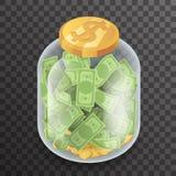 Vektor för design för symbol 3d för modell för bakgrund för isometrisk Glass för krukakruspengar för besparing för bank sedel för Arkivfoto