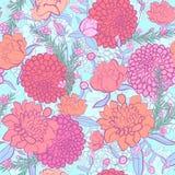 vektor för detaljerad teckning för bakgrund blom- pioner bukettbows figure seamless litet för blommamodell 0 tillgängliga eps blo Royaltyfri Fotografi