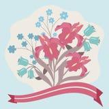 vektor för detaljerad teckning för bakgrund blom- stock illustrationer