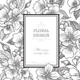 vektor för detaljerad teckning för bakgrund blom- Räkning för blommabuketttappning Krusidullkort w royaltyfri illustrationer
