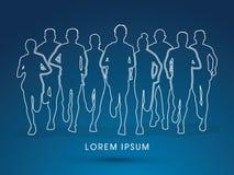 Vektor för diagram för maratonlöpare royaltyfri illustrationer