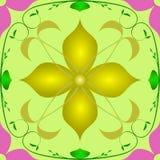 Vektor för diagram för filial för modelllilablomma guld- grön Royaltyfria Foton