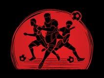 Vektor för diagram för sammansättning för lag för spelare för fotboll tre Fotografering för Bildbyråer