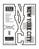 Vektor för diagram för typografiNew York City T-tröja Royaltyfri Bild